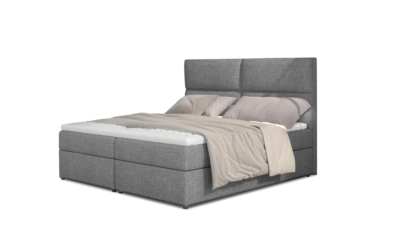 Manželská postel Boxspring 180 cm - Amebra (šedá) (s matracemi a úl. prostorem)