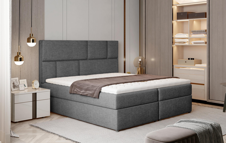 Manželská postel Boxspring 160 cm - Florio (šedá) (s matracemi a úl. prostorem)