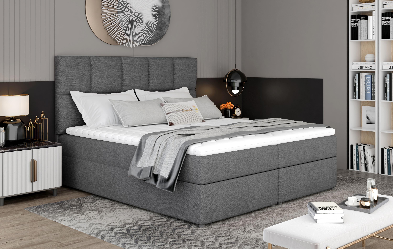 Manželská postel Boxspring 180 cm - Galasa (šedá) (s matracemi a úl. prostorem)