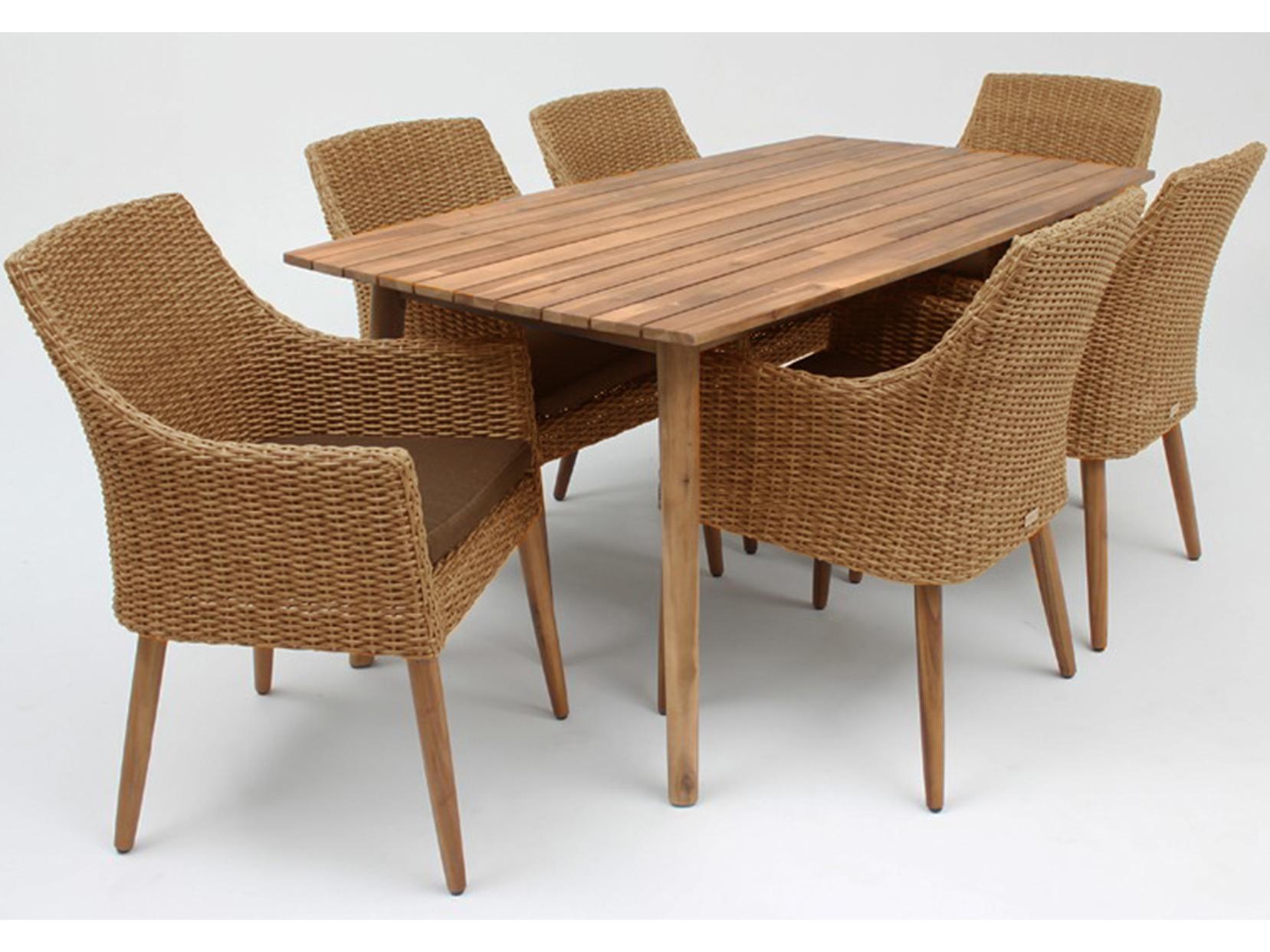 Zahradní sestava - Exterio - Copenhagen 1+4 (akátové dřevo + umělý ratan)