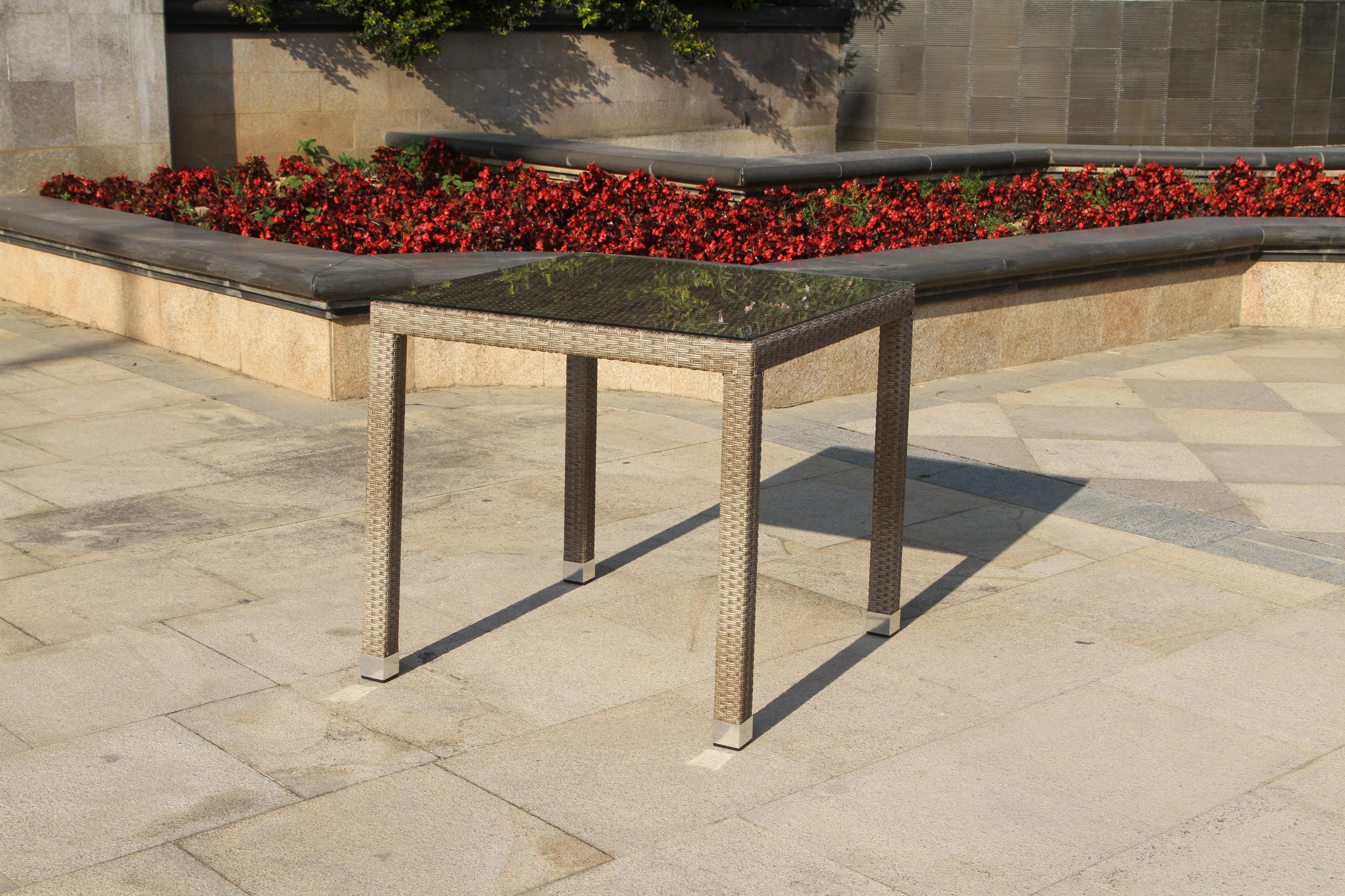 Zahradní stůl - Exterio - Cuba 80 natur (hliník + umělý ratan)