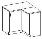 Spodní kuchyňská skříňka rohová - Famm - Chamonix - 90 90 DN ZB