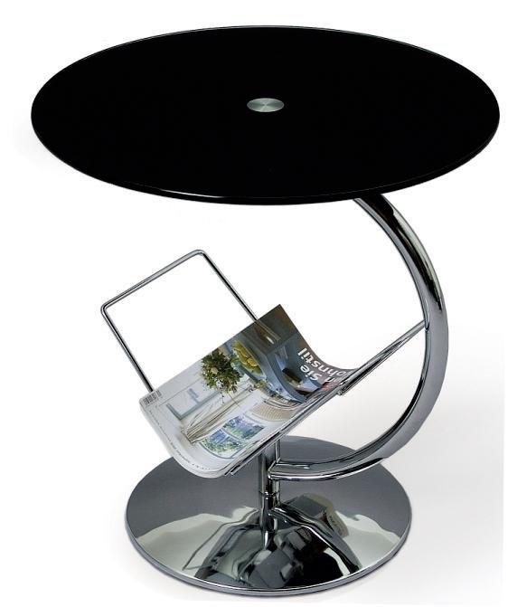 Příruční stolek - Famm - Alma (černé sklo)