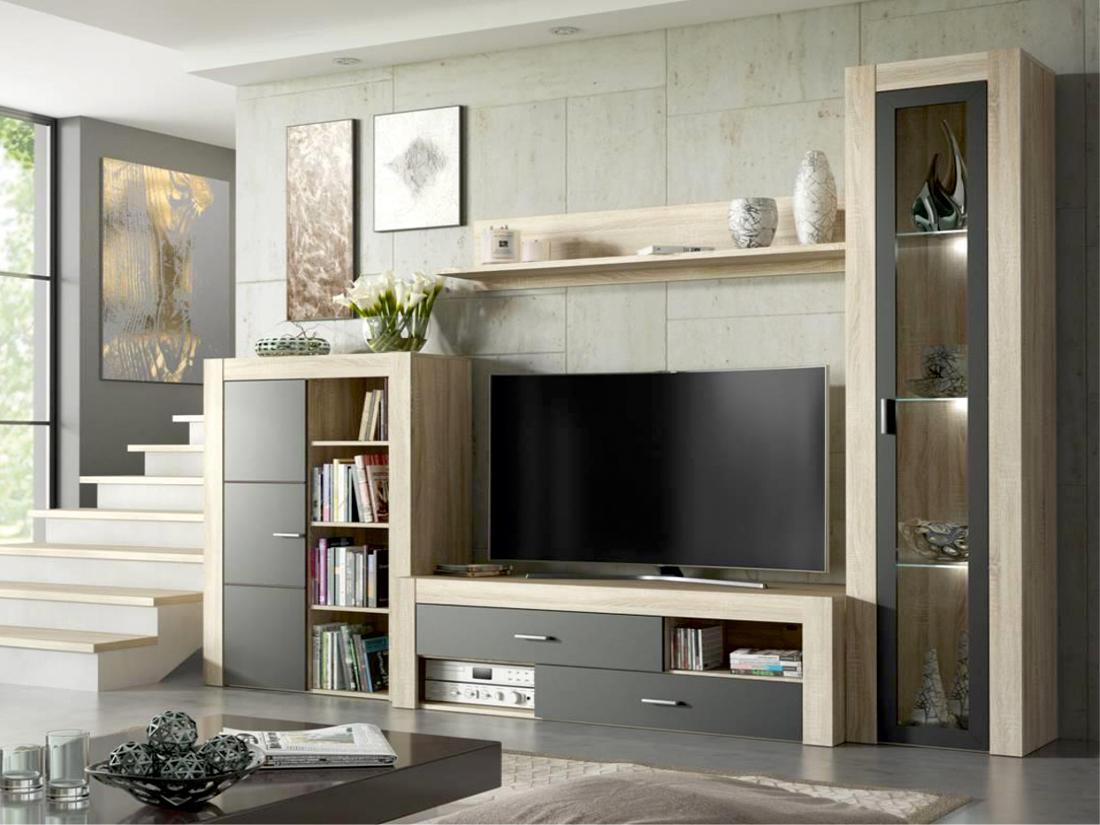 Obývací stěna - Famm - Niza P6DSN2 (sonoma + šedá) (s osvětlením)