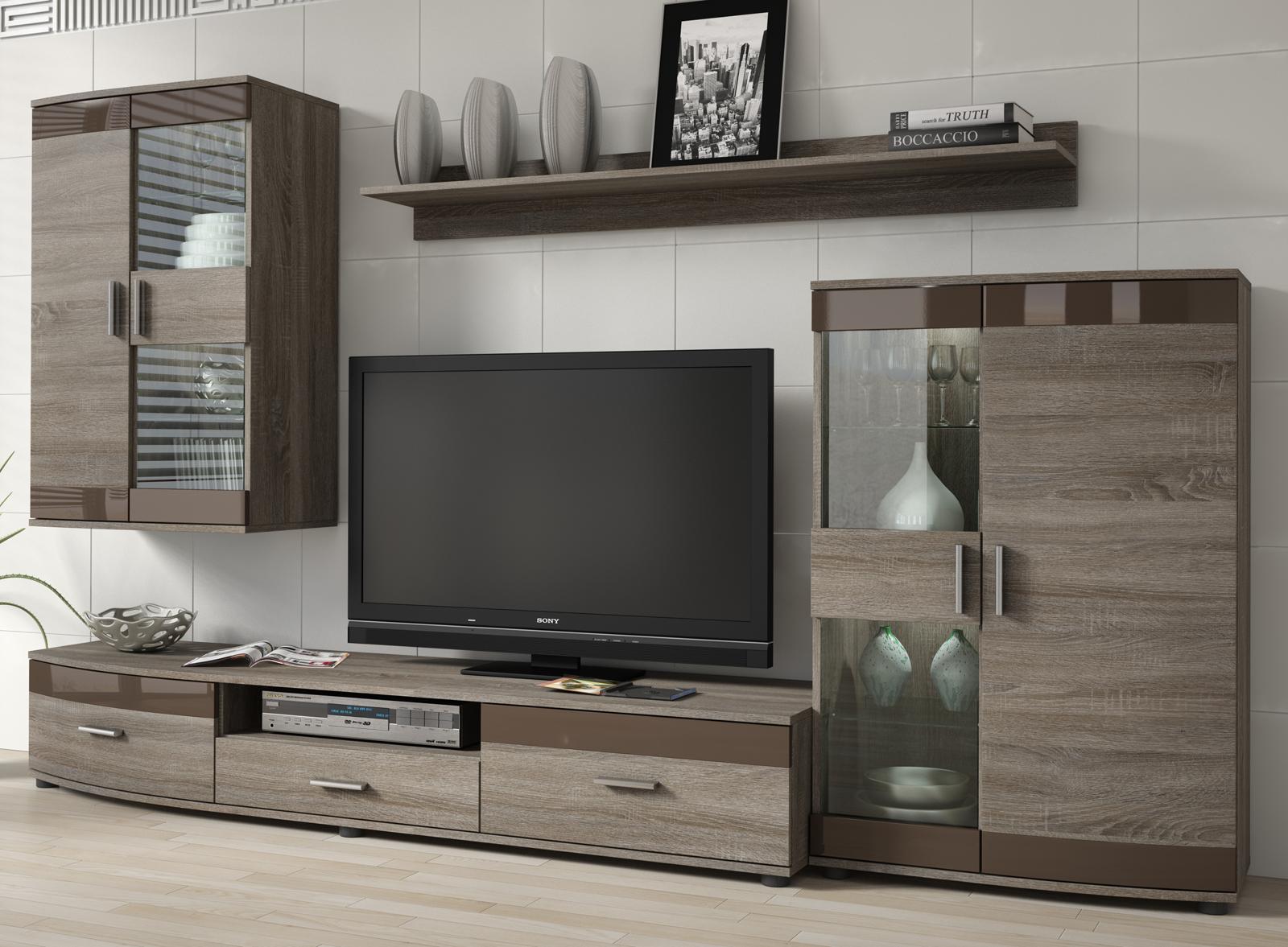 Obývací stěna - Famm - Siena P6SCSI (sonoma trufflova + hnědá) (s osvětlením)