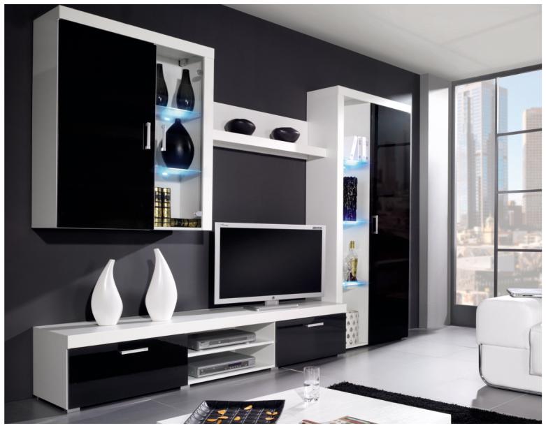 Obývací stěna - Famm - Samba B černý lesk