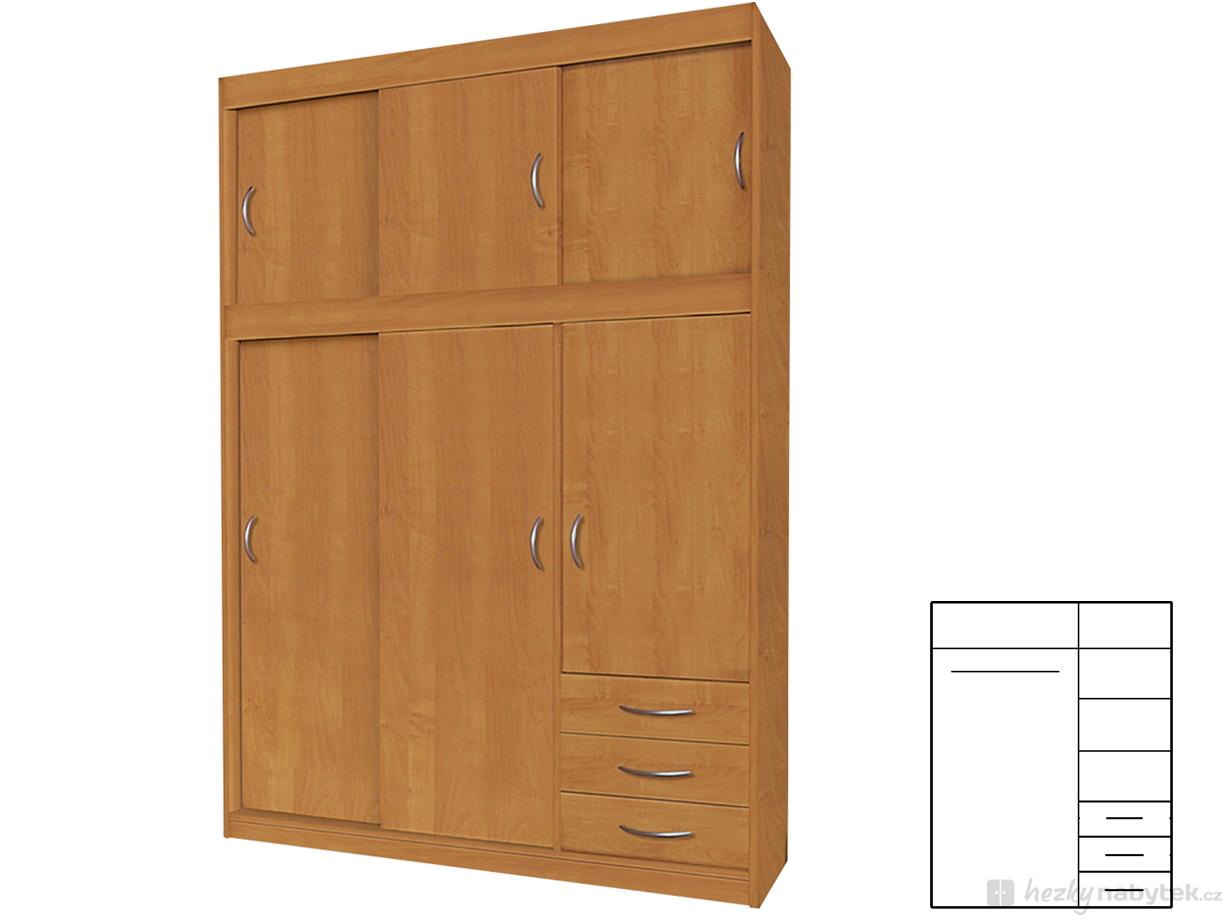Šatní skříň - Famm - Karla (olše)