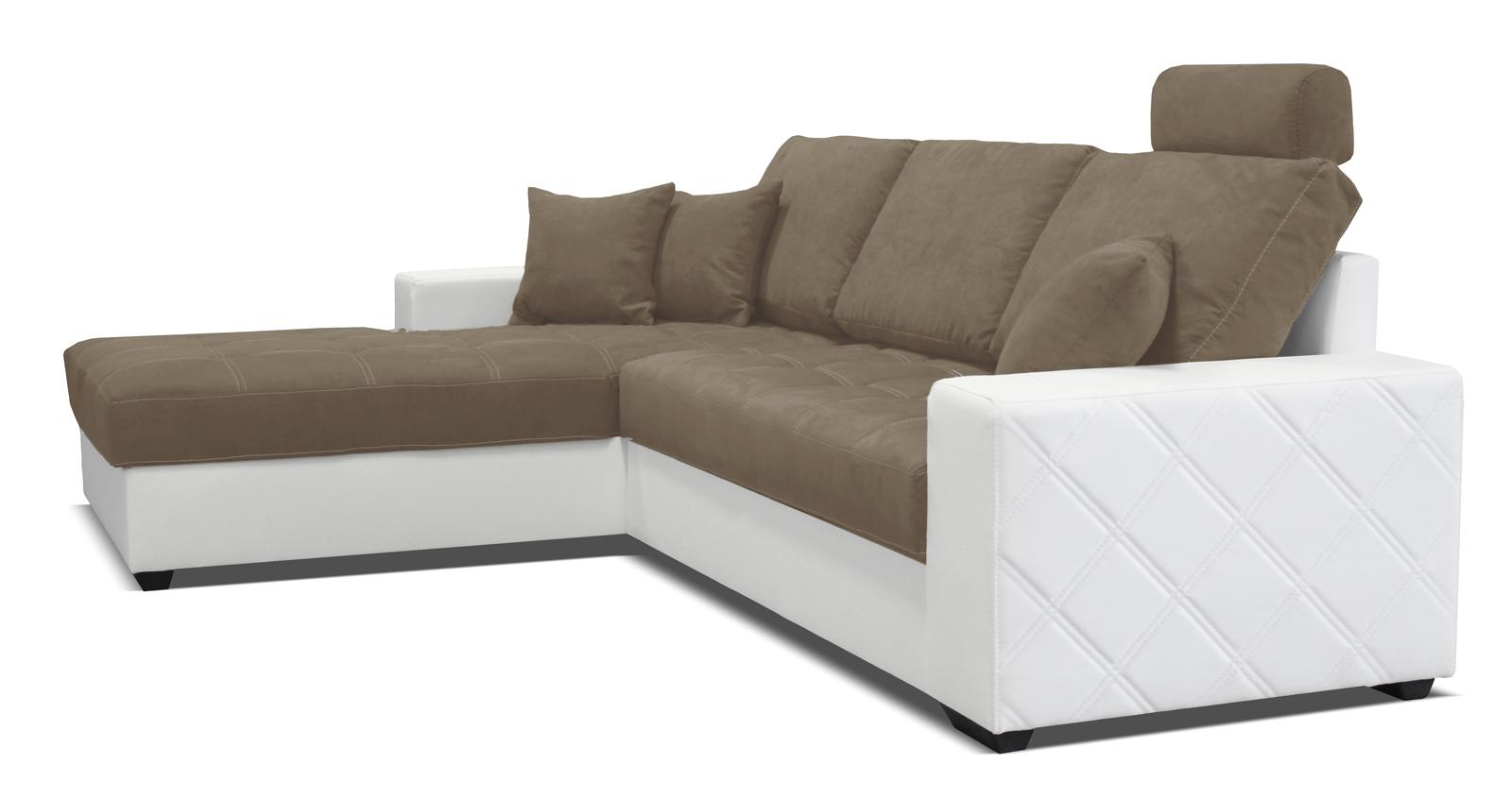 Rohová sedací souprava - Po-Sed - Mondo (bílá + piesková) (L)