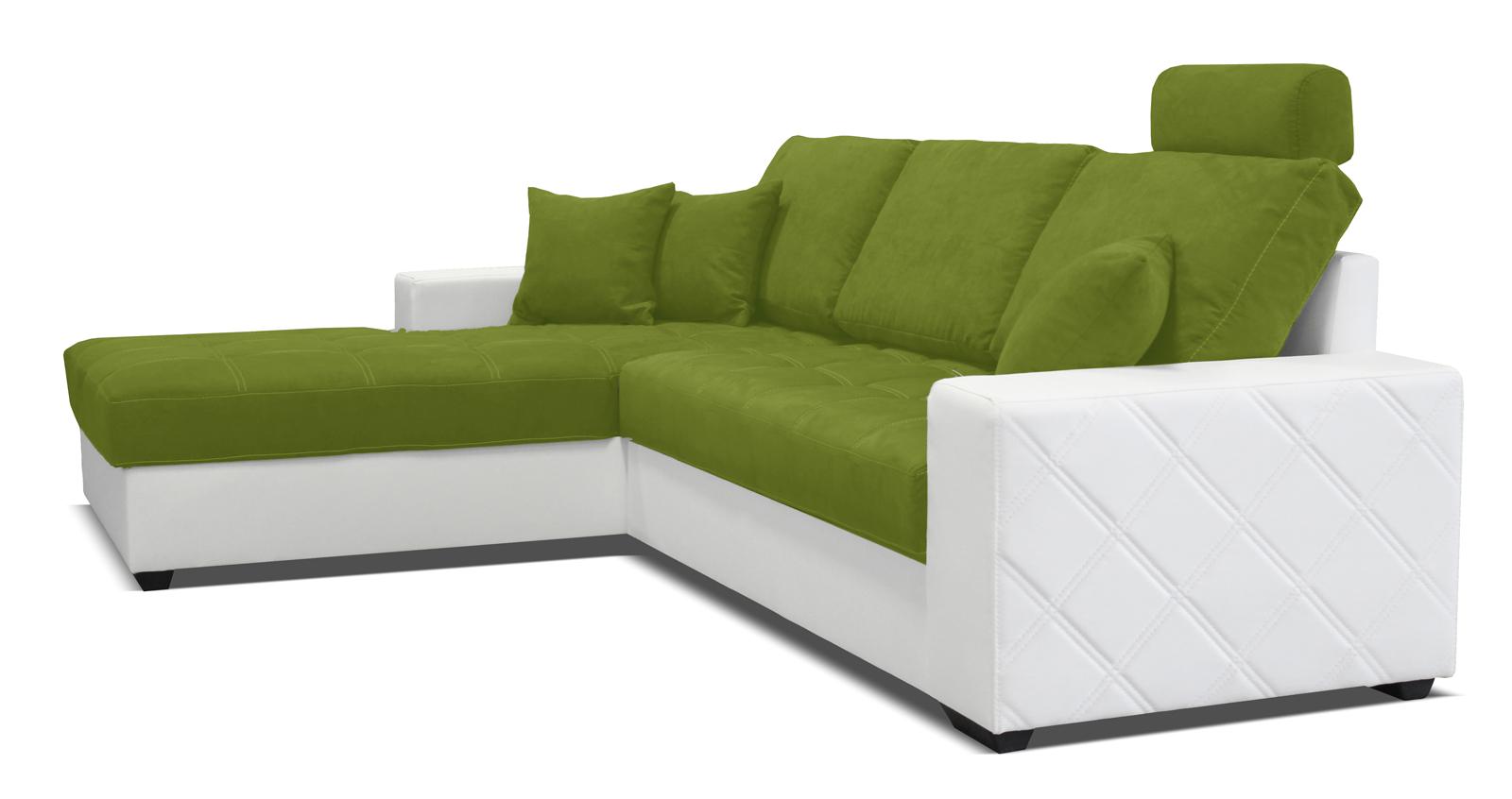 Rohová sedací souprava - Po-Sed - Mondo (bílá + pistácie) (L)