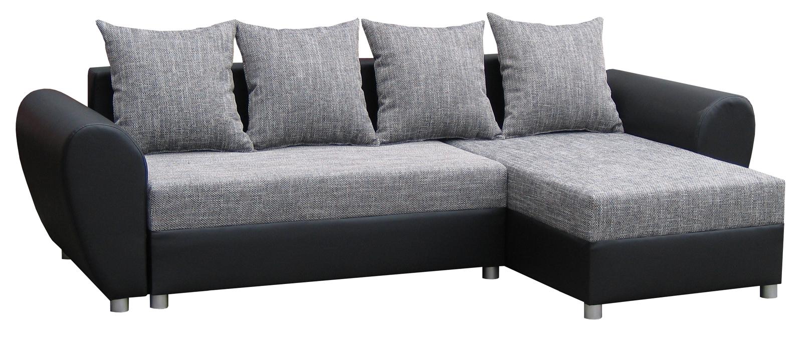 Rohová sedací souprava - Po-Sed - Porto (šedá + černá) (P)