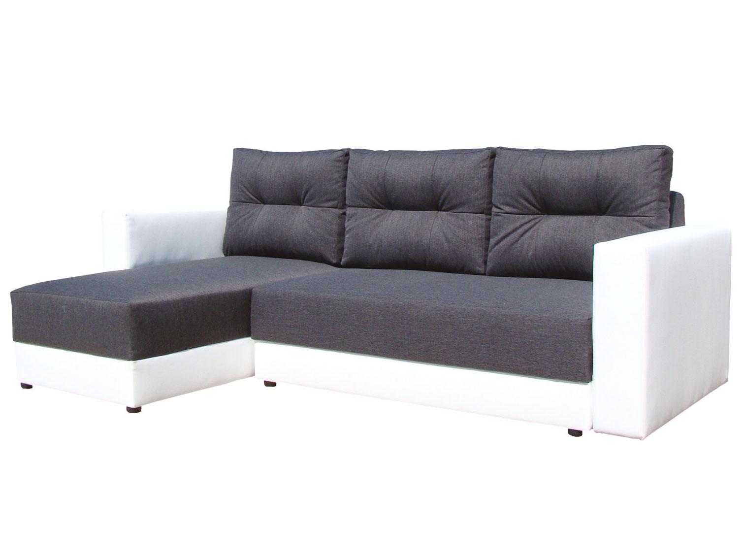 Rohová sedací souprava - Famm - Alex tmavě šedá + koženka bílá (L)