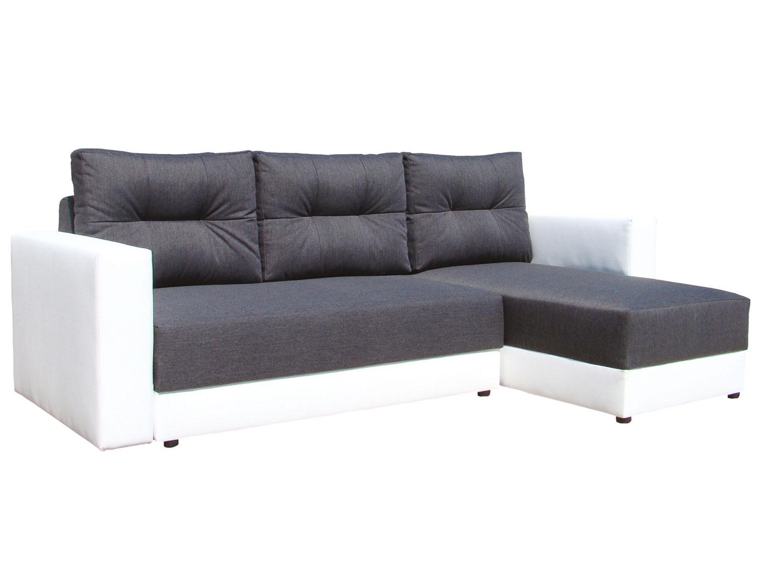 Rohová sedací souprava - Famm - Alex tmavě šedá + koženka bílá (P)