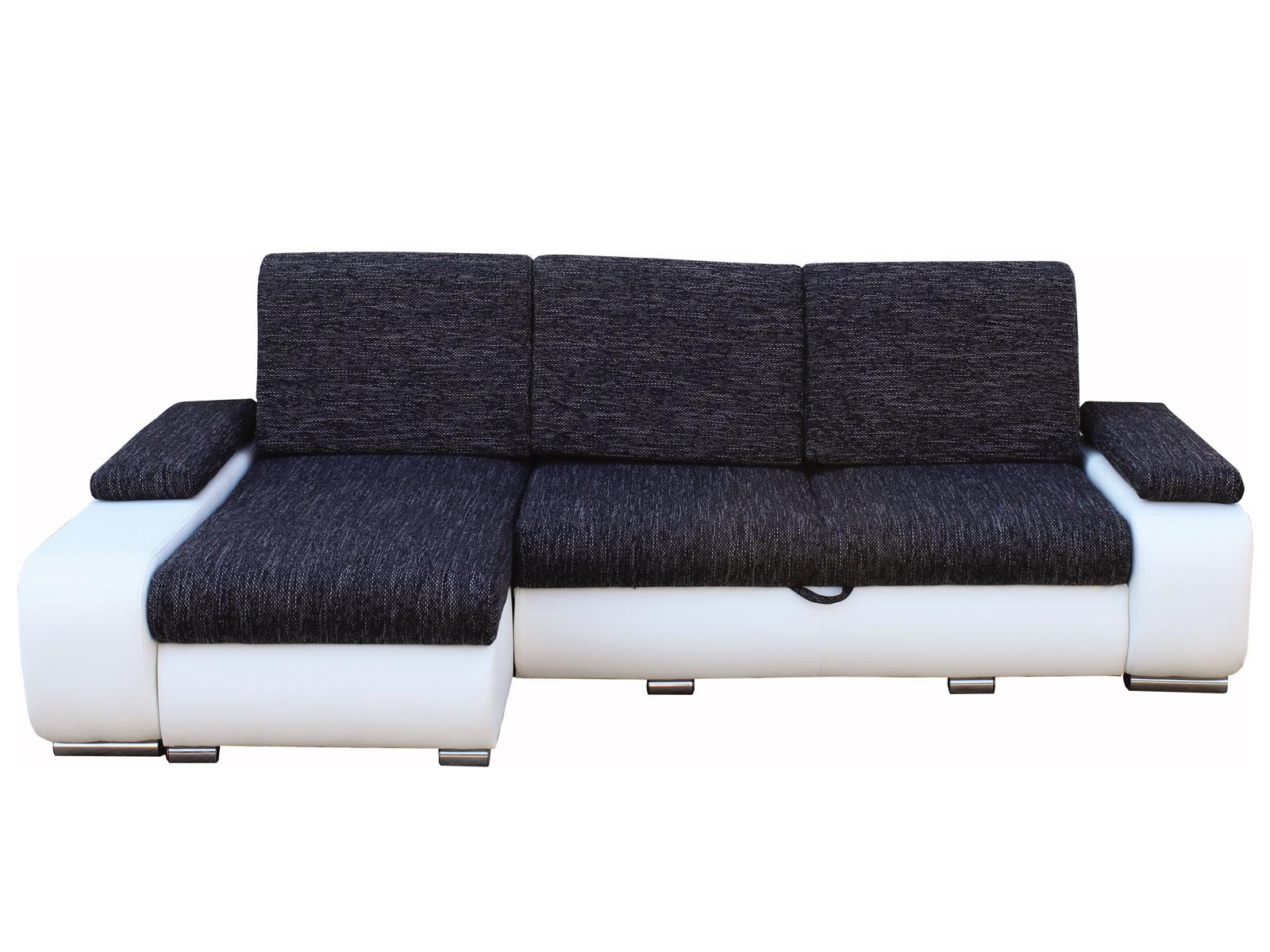 Rohová sedací souprava - Famm - Cafe roh černá + koženka bílá (L)