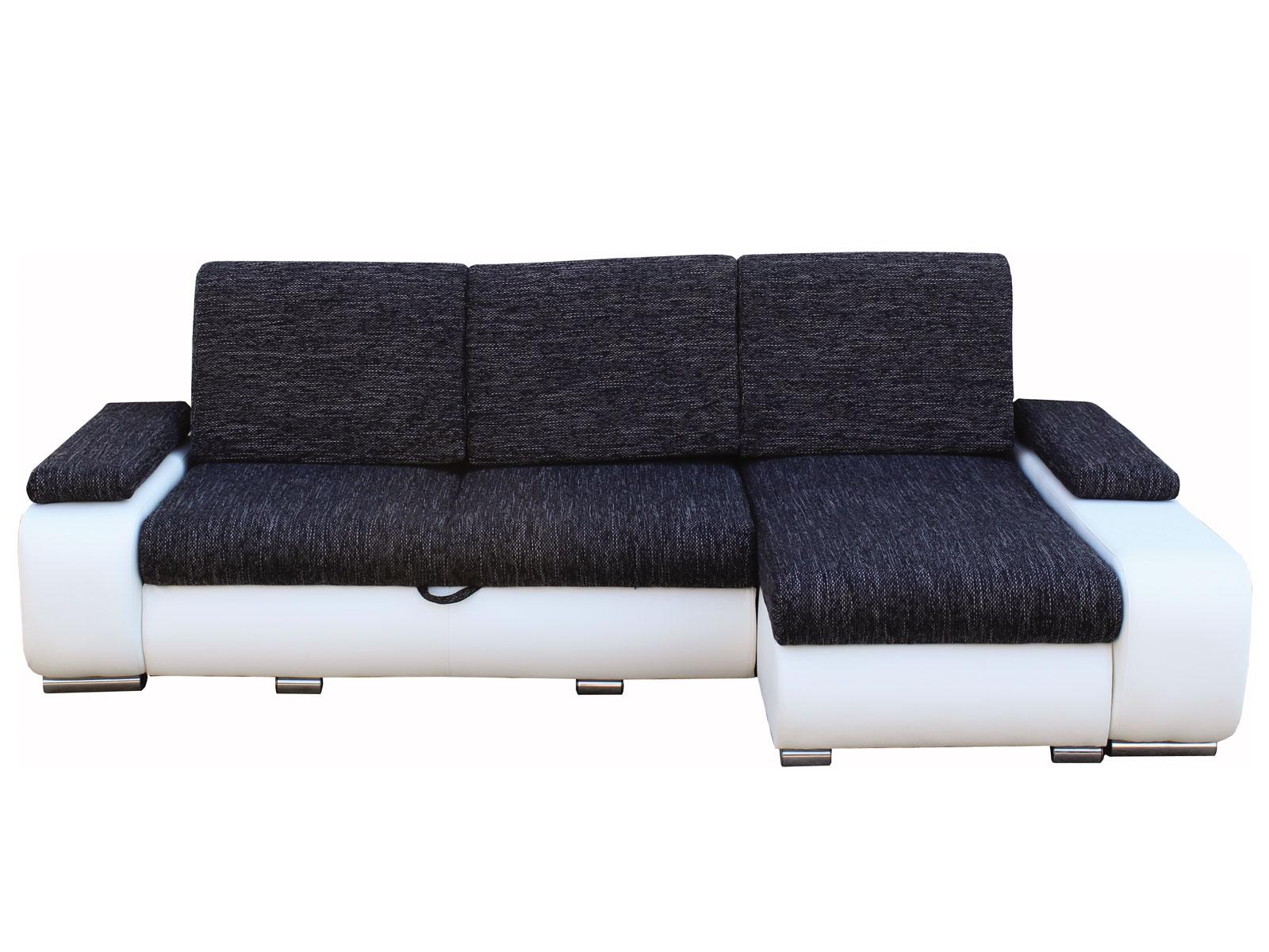 Rohová sedací souprava - Famm - Cafe roh černá + koženka bílá (P)