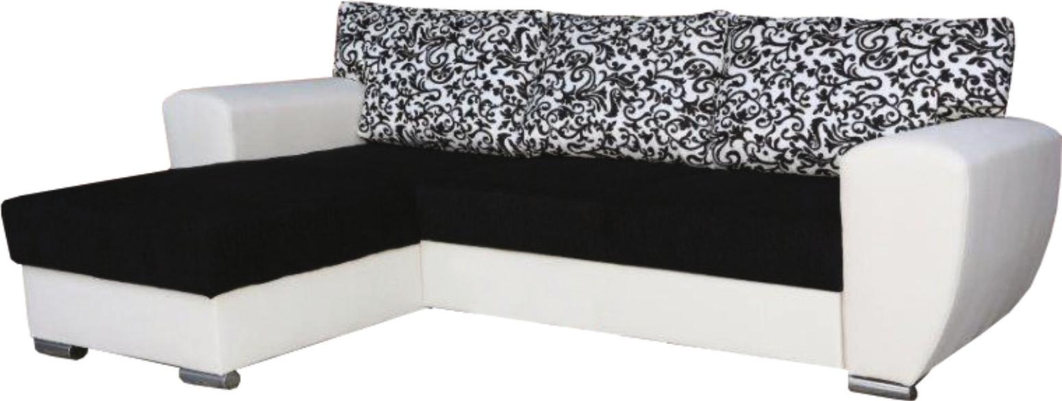 Rohová sedací souprava - Famm - Larisa (L) polštáře černobílé