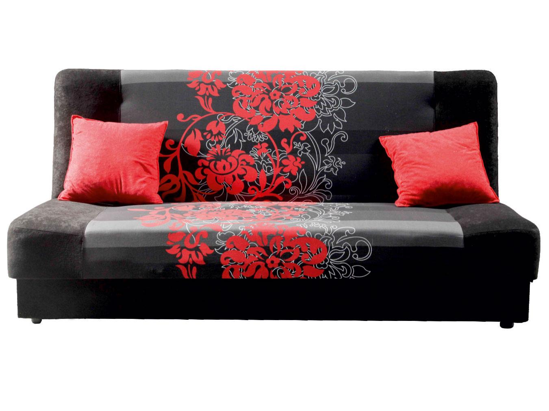 Pohovka - Famm - London 3R černá + červený květ