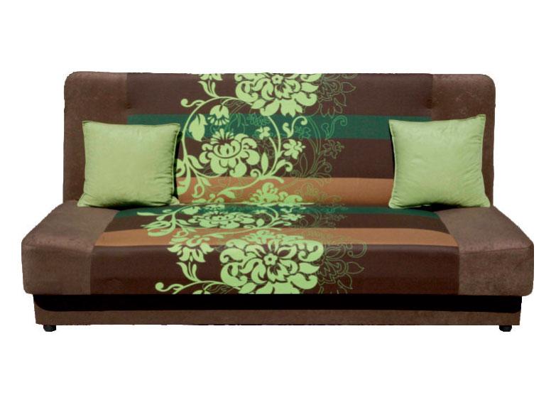 Pohovka - Famm - London 3R hnědý + zelený květ