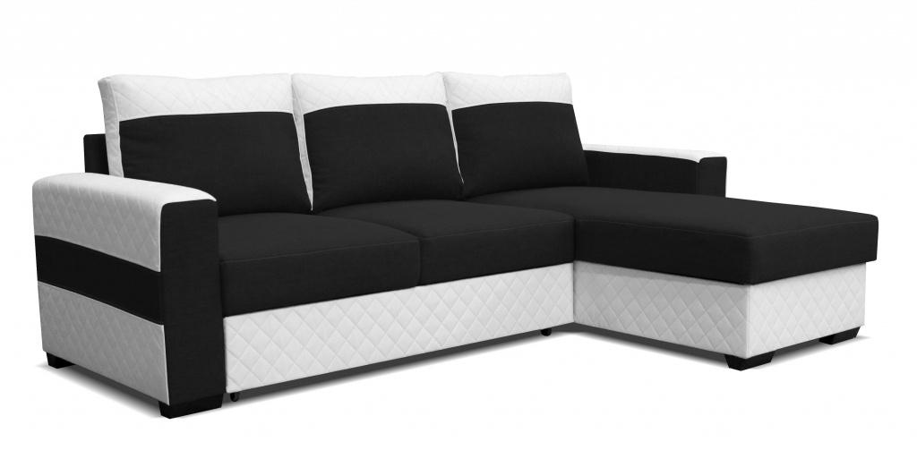 Rohová sedací souprava - Po-Sed - Mocca 2L (P) bílá + černá