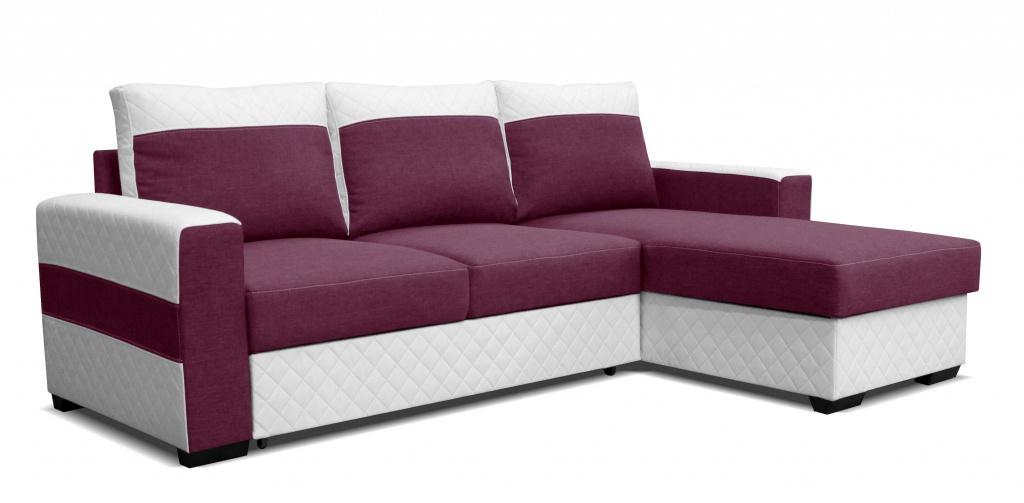 Rohová sedací souprava - Po-Sed - Mocca 2L (P) bílá + fialová