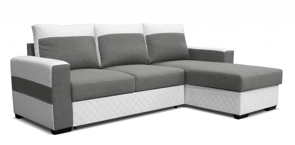 Rohová sedací souprava - Po-Sed - Mocca 2L (P) bílá + světle šedá