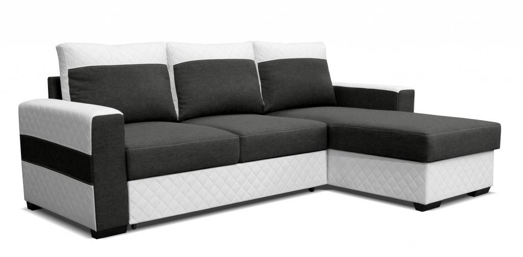 Rohová sedací souprava - Po-Sed - Mocca 2L (P) bílá + tmavě šedá