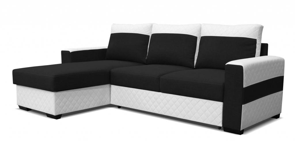 Rohová sedací souprava - Po-Sed - Mocca L2 (L) bílá + černá