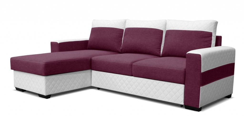 Rohová sedací souprava - Po-Sed - Mocca L2 (L) bílá + fialová