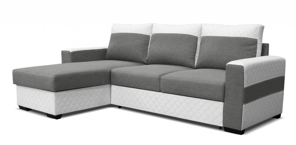 Rohová sedací souprava - Po-Sed - Mocca L2 (L) bílá + světle šedá