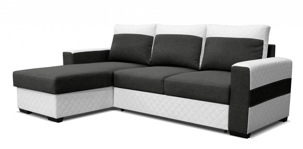 Rohová sedací souprava - Po-Sed - Mocca L2 (L) bílá + tmavě šedá