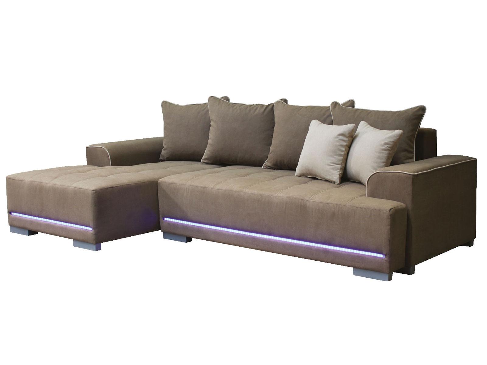 Rohová sedací souprava - Po-Sed - Opal L+2F šedá (L) (s osvětlením)