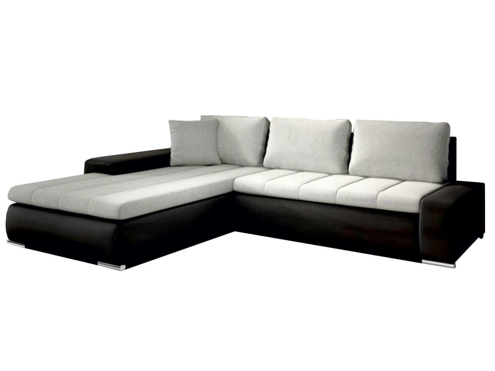 Rohová sedací souprava - Famm - Tivano světle šedá + koženka černá (L)