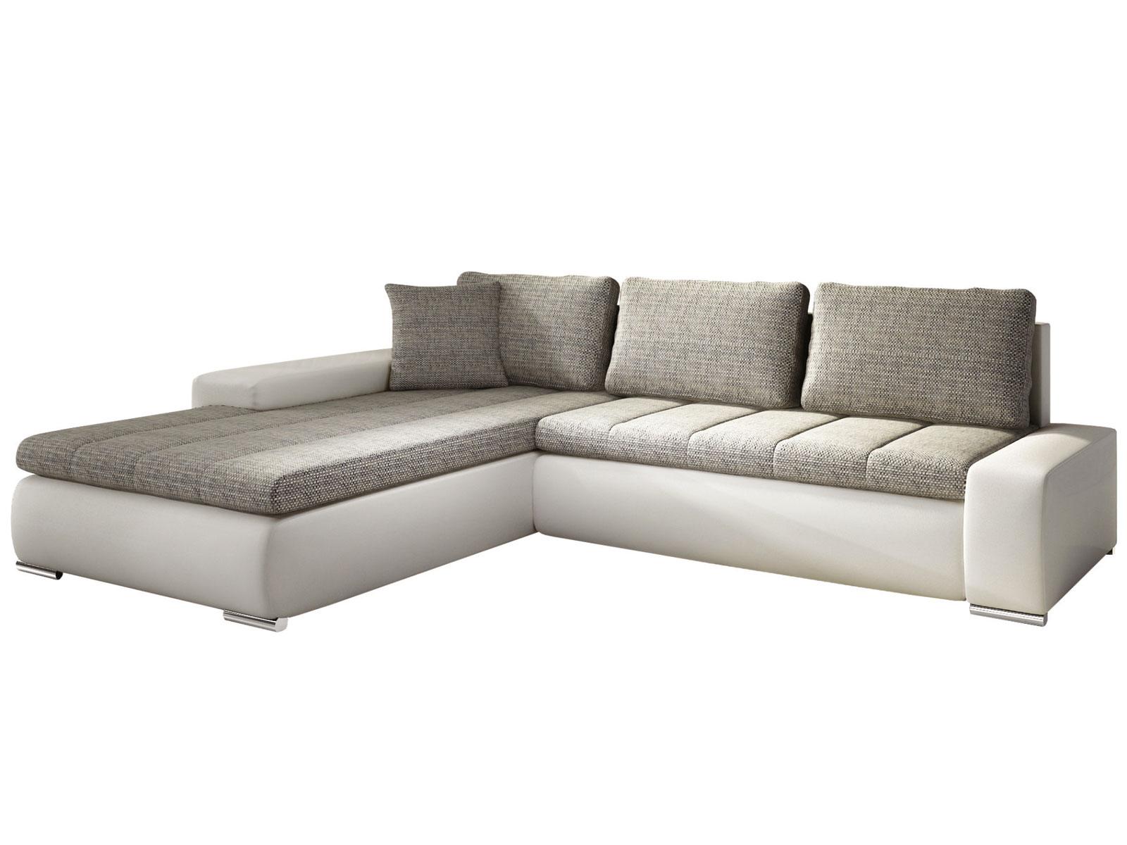 Rohová sedací souprava - Famm - Tivano béžová + koženka bílá (L)