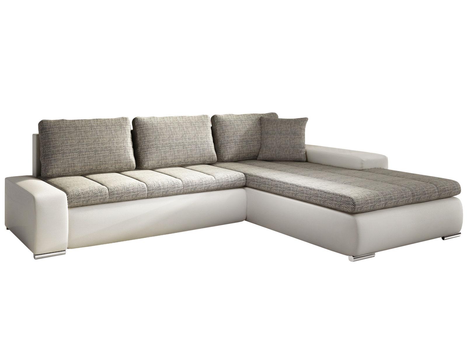 Rohová sedací souprava - Famm - Tivano béžová + koženka bílá (P)
