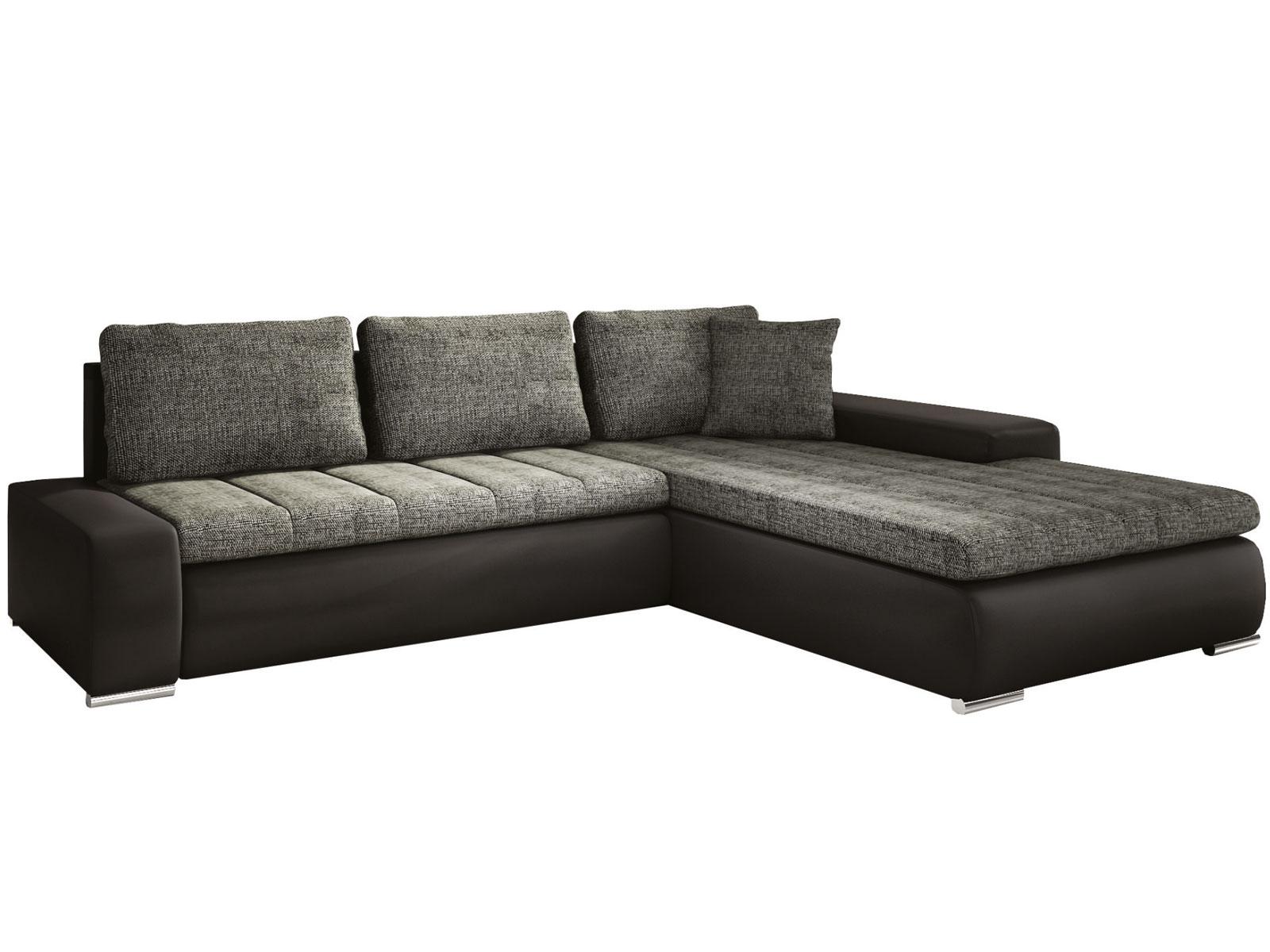 Rohová sedací souprava - Famm - Tivano tmavě šedá + koženka černá (P)