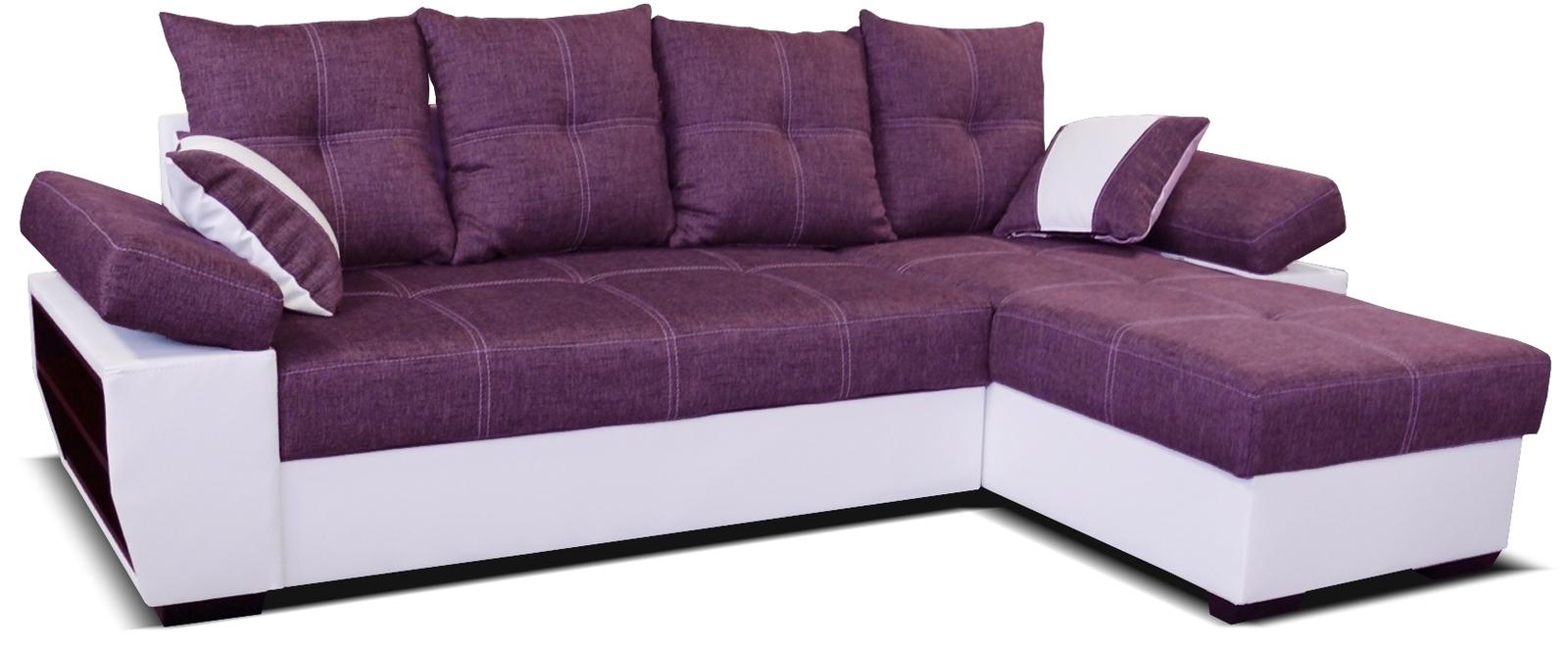 Rohová sedací souprava - Po-Sed - Viena 2F+L (P) bílá + fialová