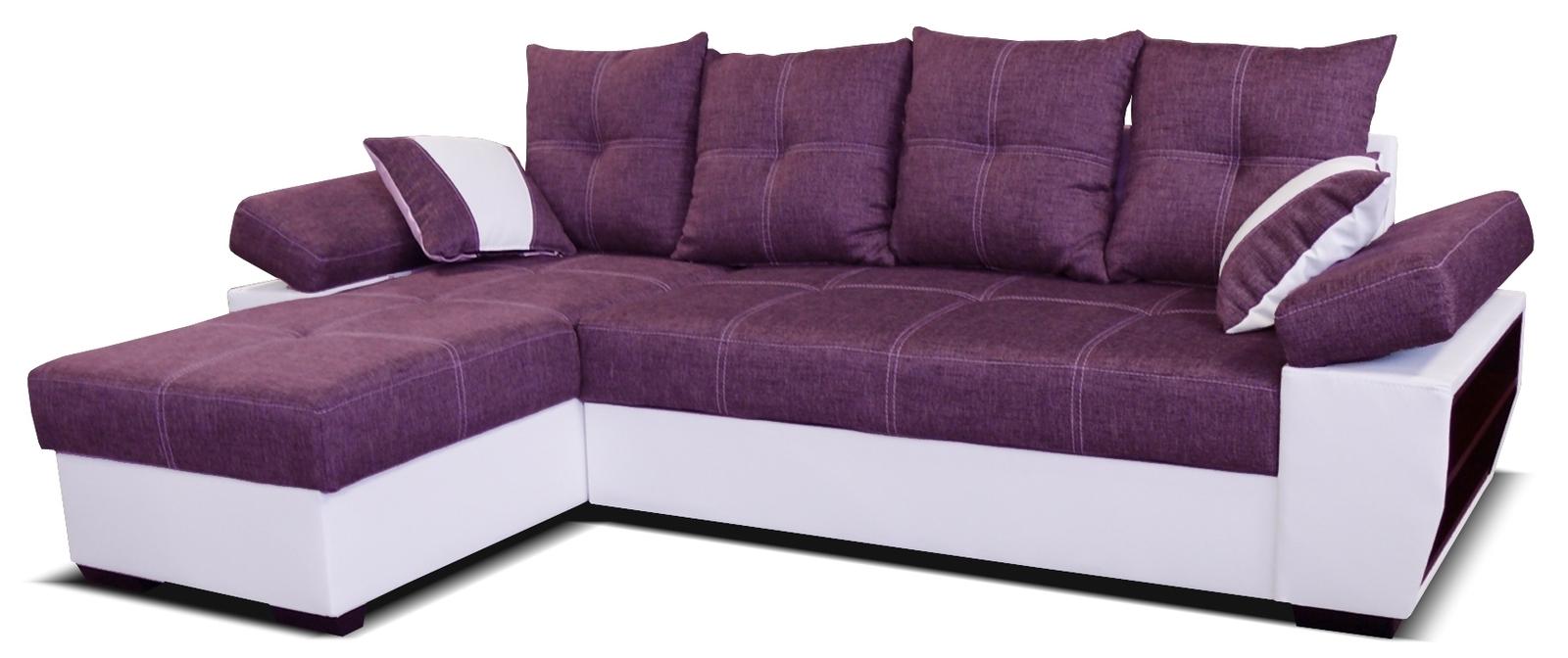 Rohová sedací souprava - Po-Sed - Viena L+2F (L) bílá + fialová