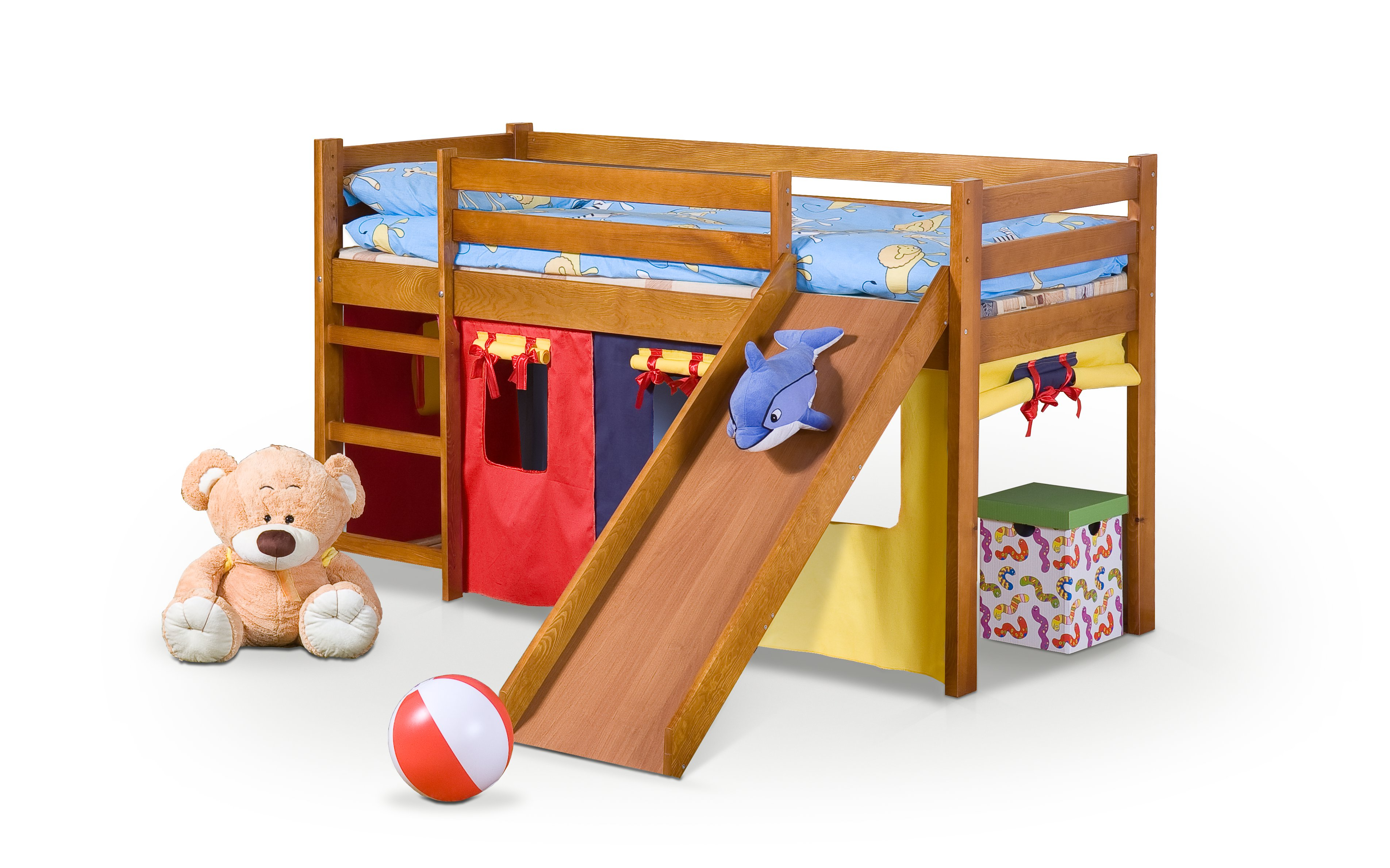 Patrová postel 80 cm - Halmar - Neo Plus Olše (masiv, s roštem a matrací)