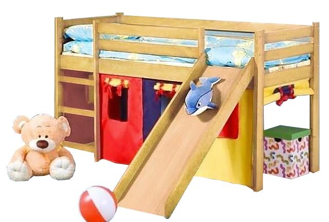 Patrová postel 80 cm - Halmar - Neo Plus Borovice (masiv, s roštem a matrací)
