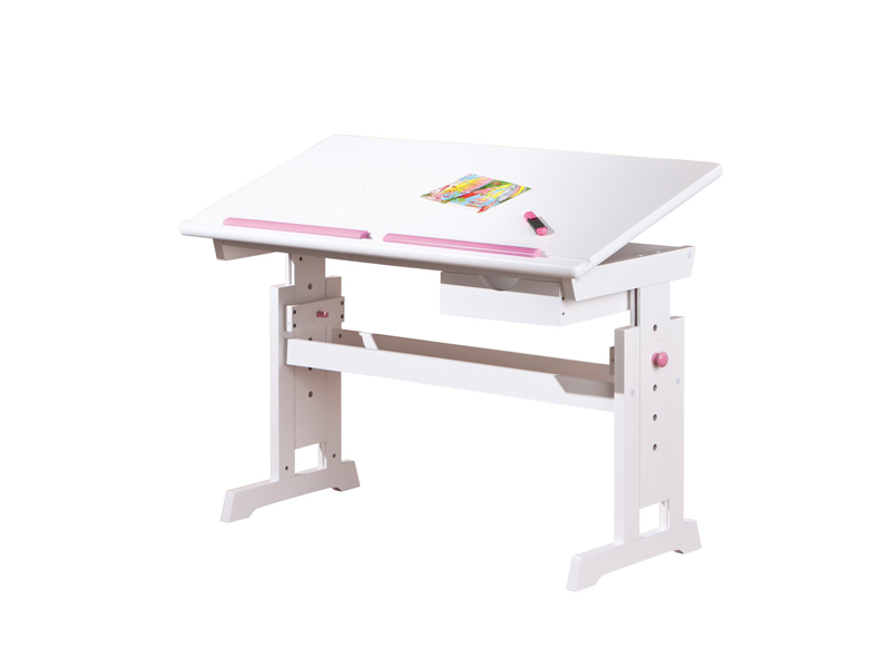 Dětský psací stolek - Halmar - Baru (bílá + růžová)