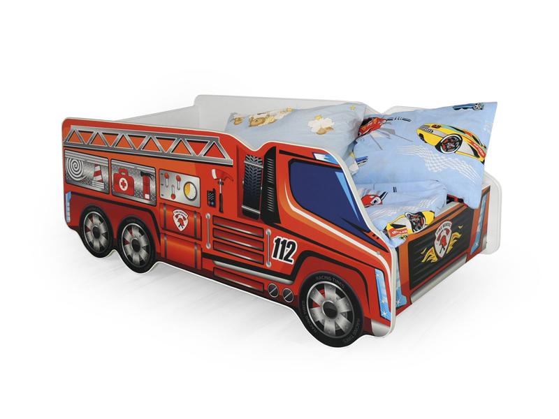 Jednolůžková postel 80 cm - Halmar - Fire Truck (s roštem a matrací)