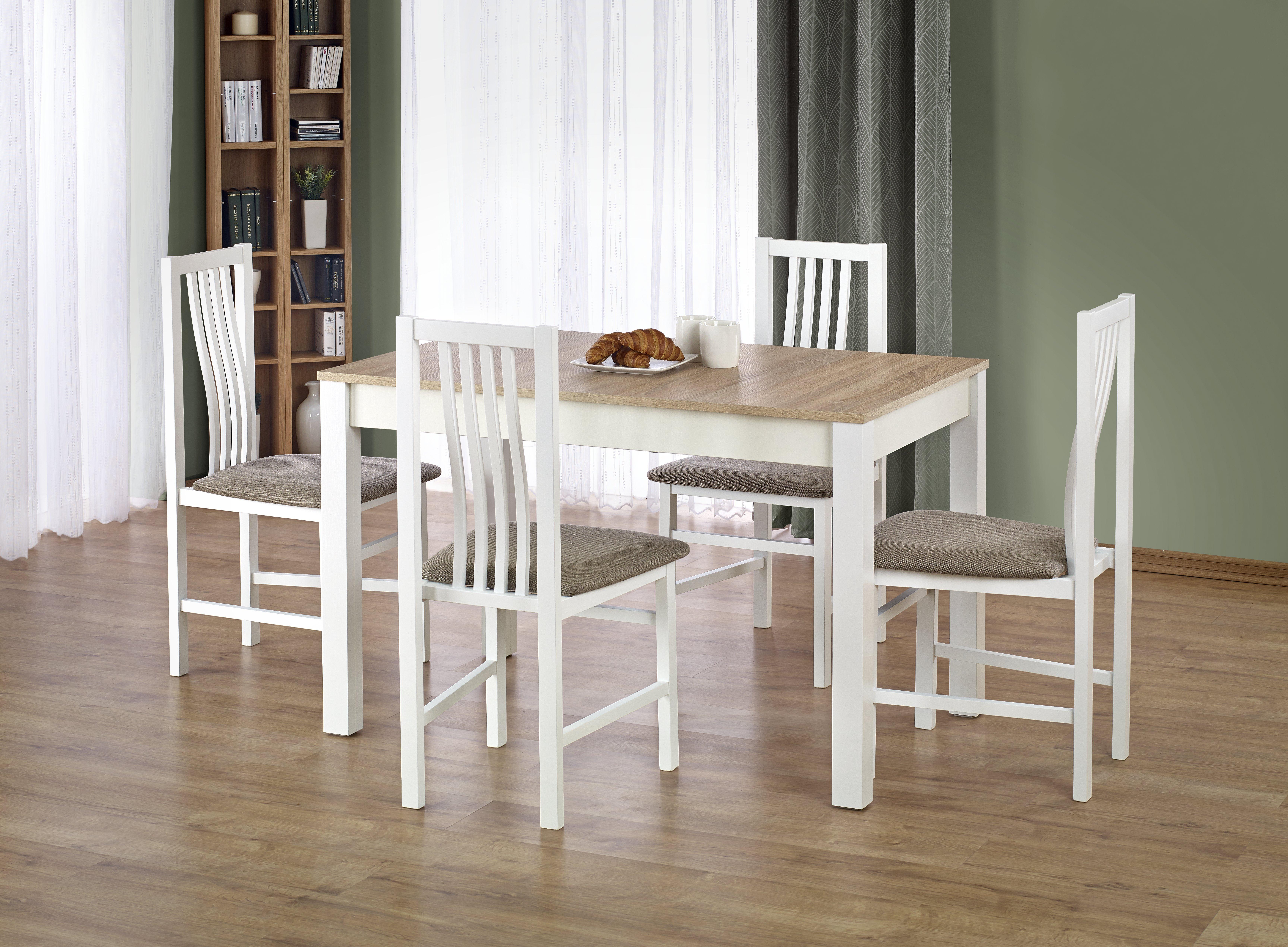 Jídelní stůl - Halmar - Ksawery (dub sonoma + bílá) (pro 4 osoby)