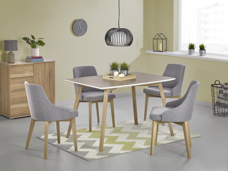 Jídelní stůl - Halmar - Petrus (dub sonoma + bílá) (pro 4 osoby)