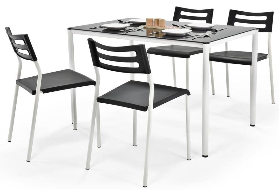 Jídelní set - Halmar - Figaro černý (pro 4 osoby)