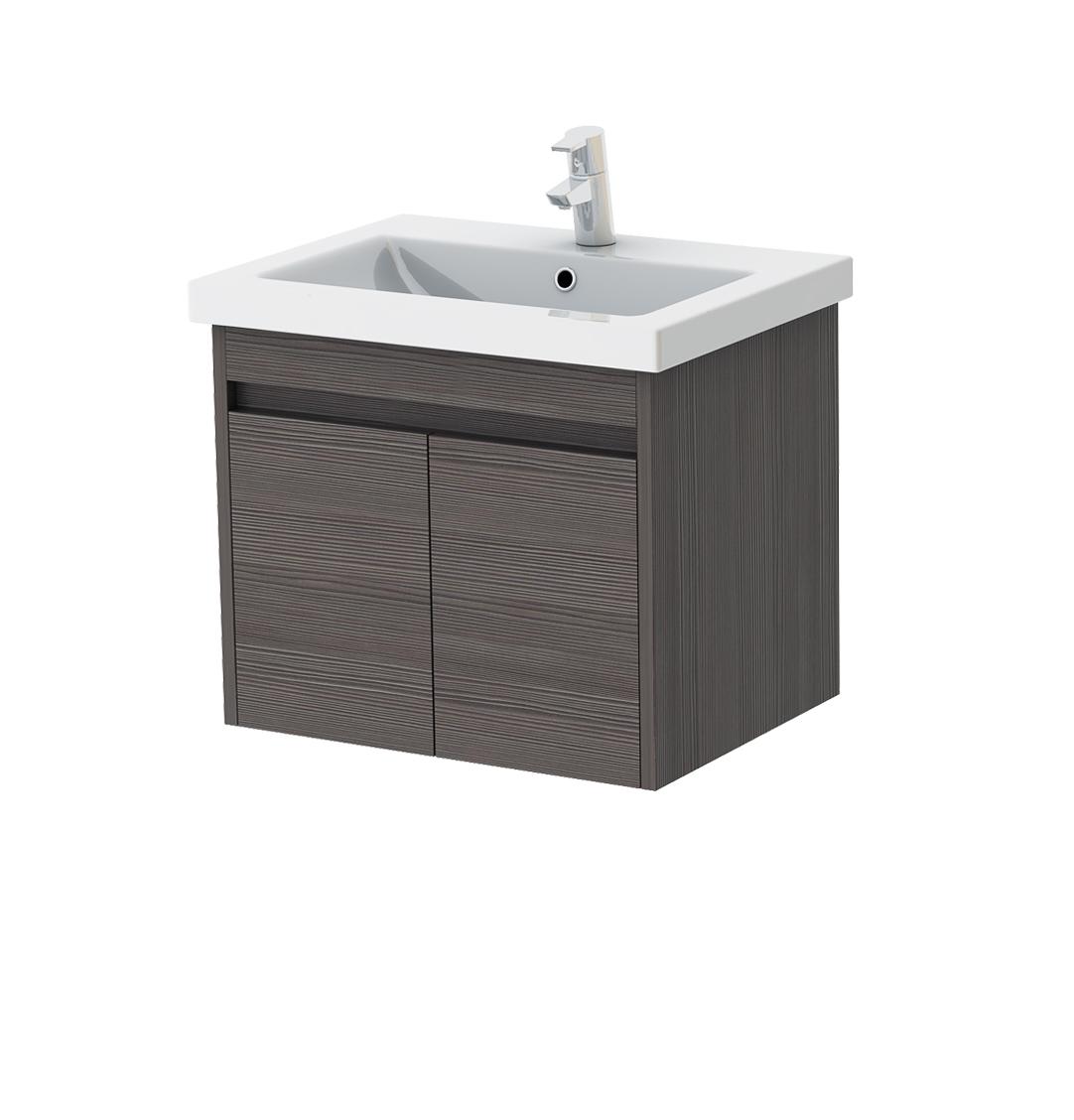 Koupelnová skříňka na stěnu s umyvadlem - Juventa - Ravenna - Rv-60 (šedohnědá)