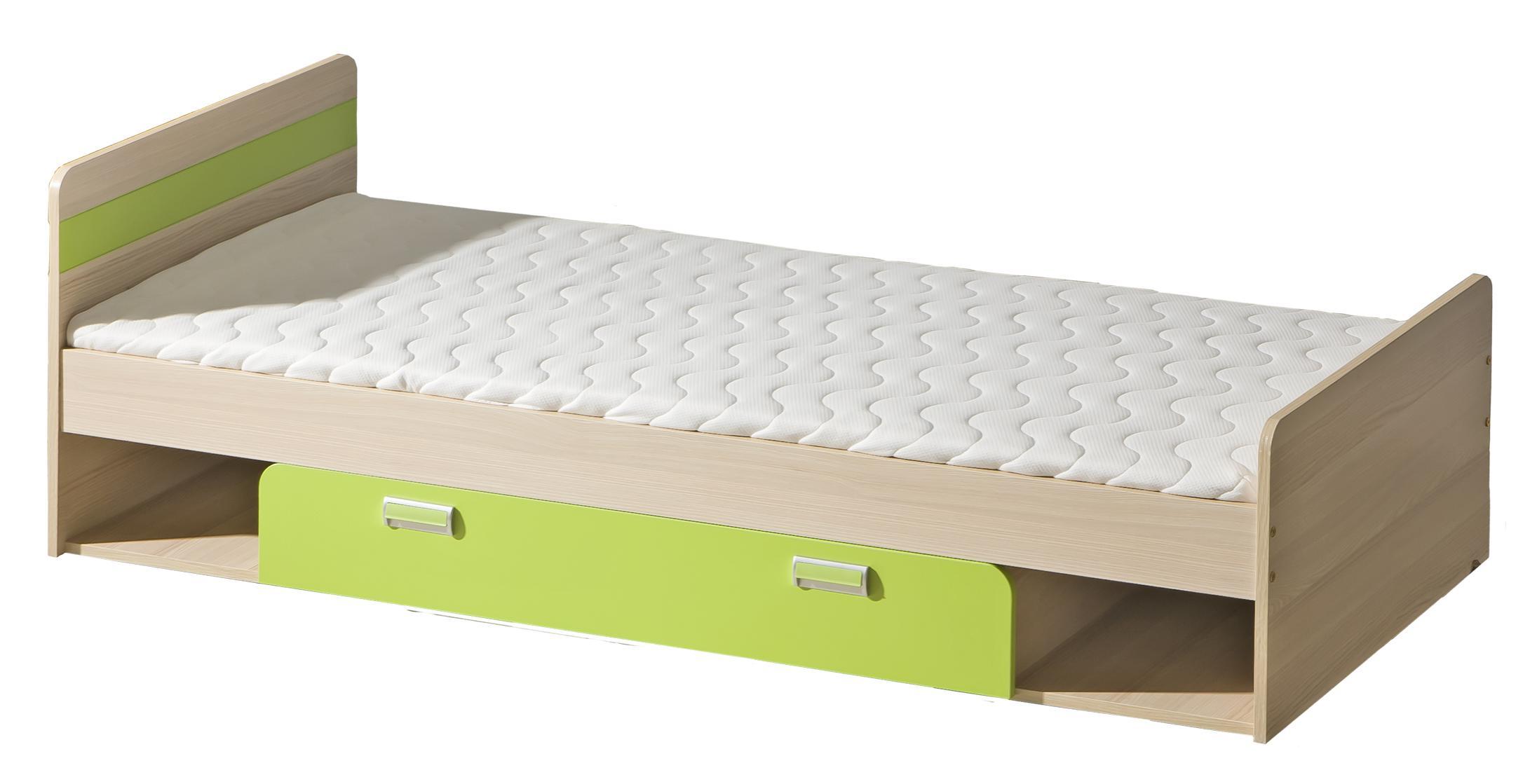 Jednolůžková postel 80 cm - Lavendon - L13 (s roštem) (zelená)