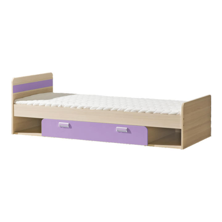 Jednolůžková postel 80 cm - Lavendon - L13 (s roštem) (fialová)