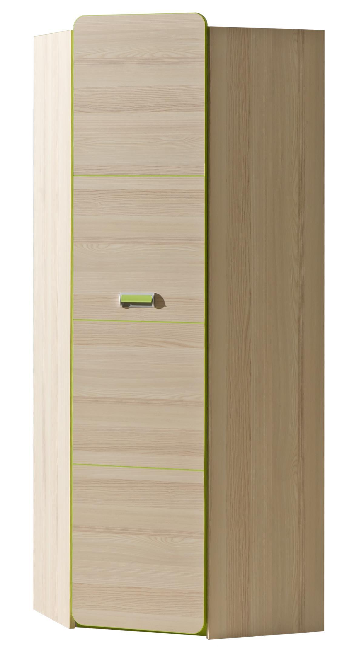 Rohová šatní skříň - Lavendon - L14 (zelená)