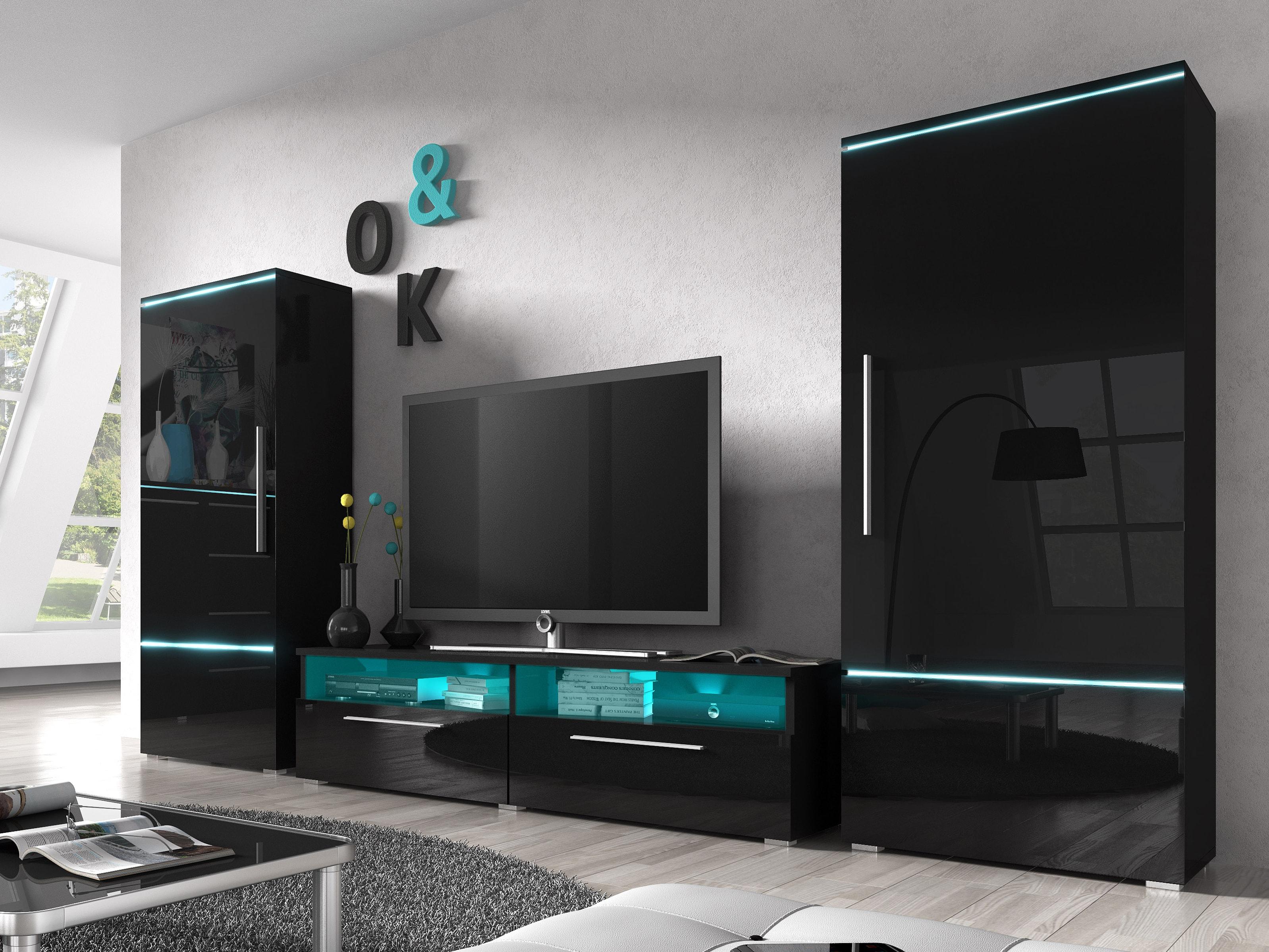Obývací stěna - Aldor - Typ 10 (černá + černý lesk)