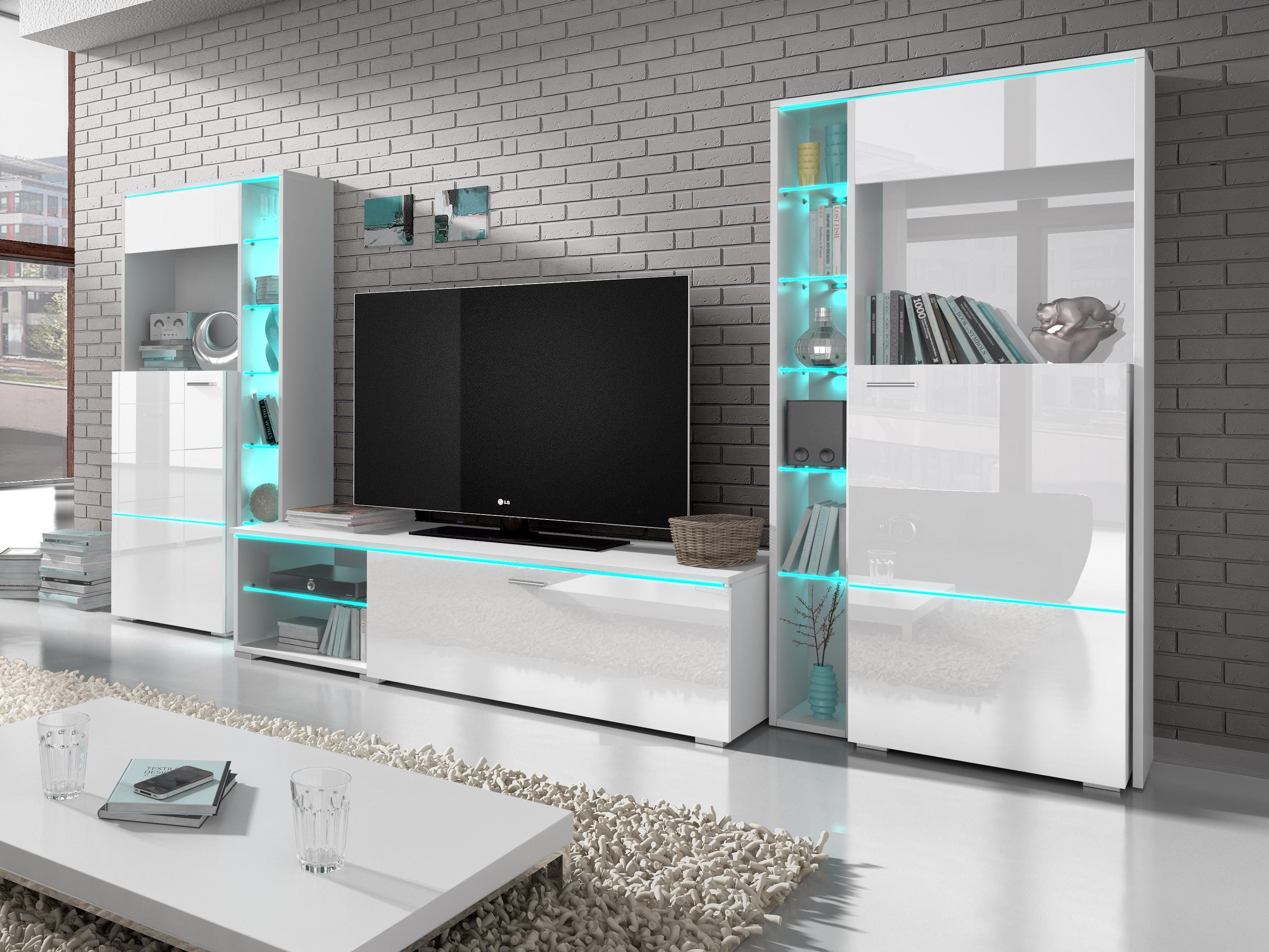Obývací stěna - Ansty - Typ 10 (lesk bílý)