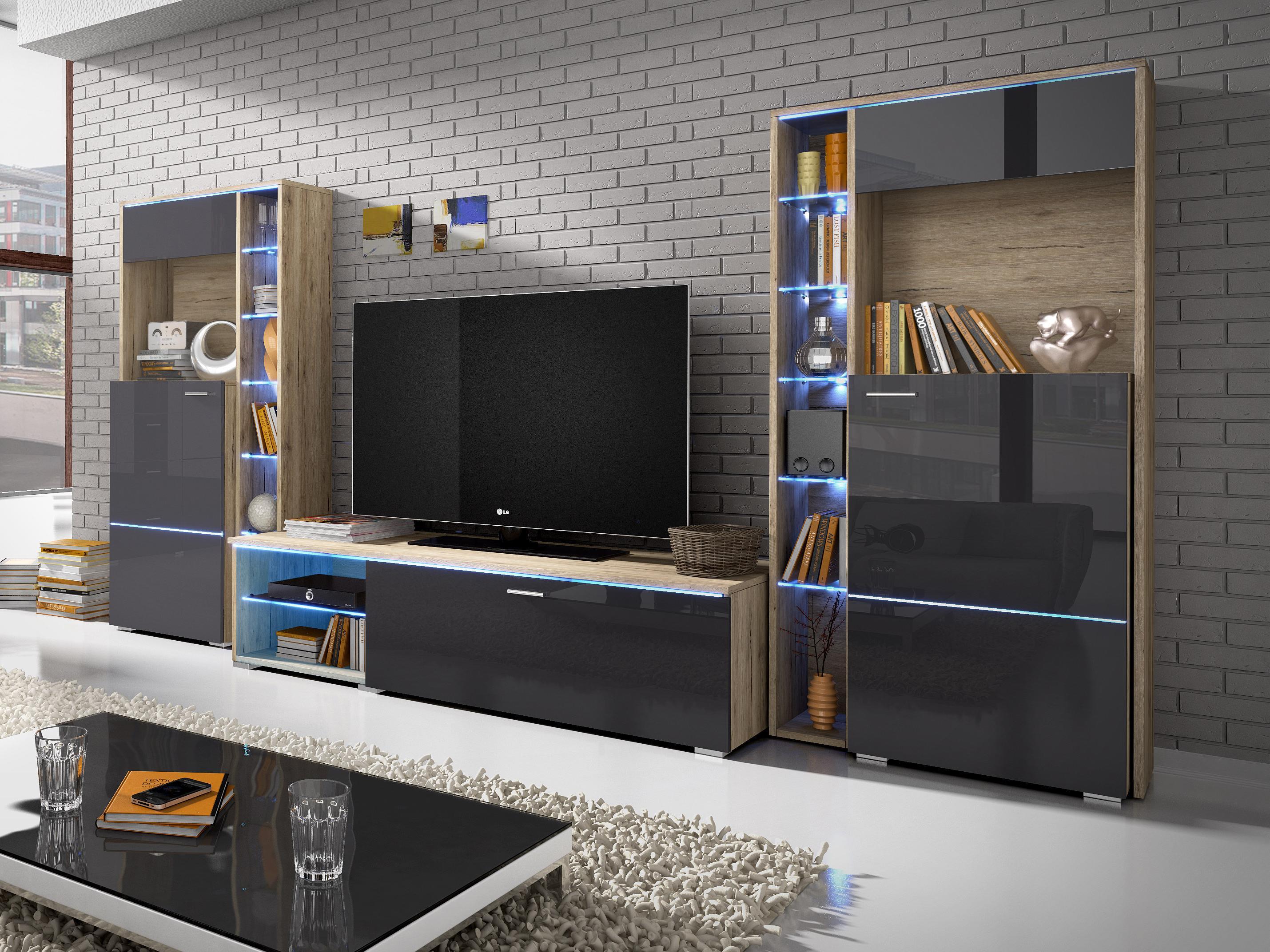 Obývací stěna - Ansty - Typ 10 (san remo + lesk antracit)